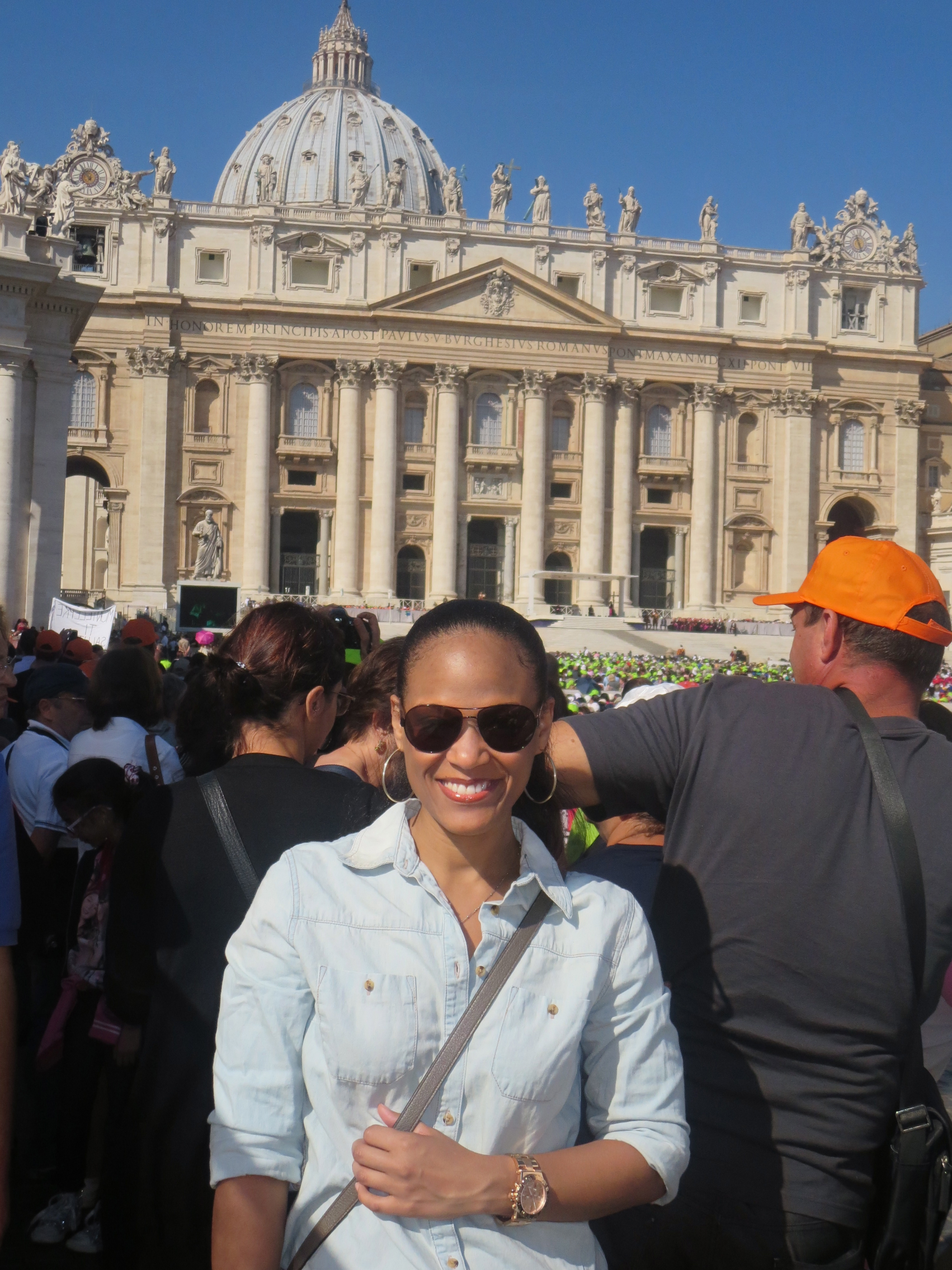 In front of St. Peter's Basilica during the Pope's Papal Audience