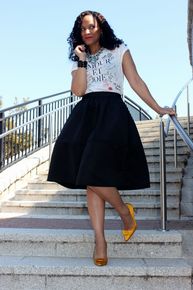 J Crew Signature Tee: Dressed Up With A Midi Skirt!