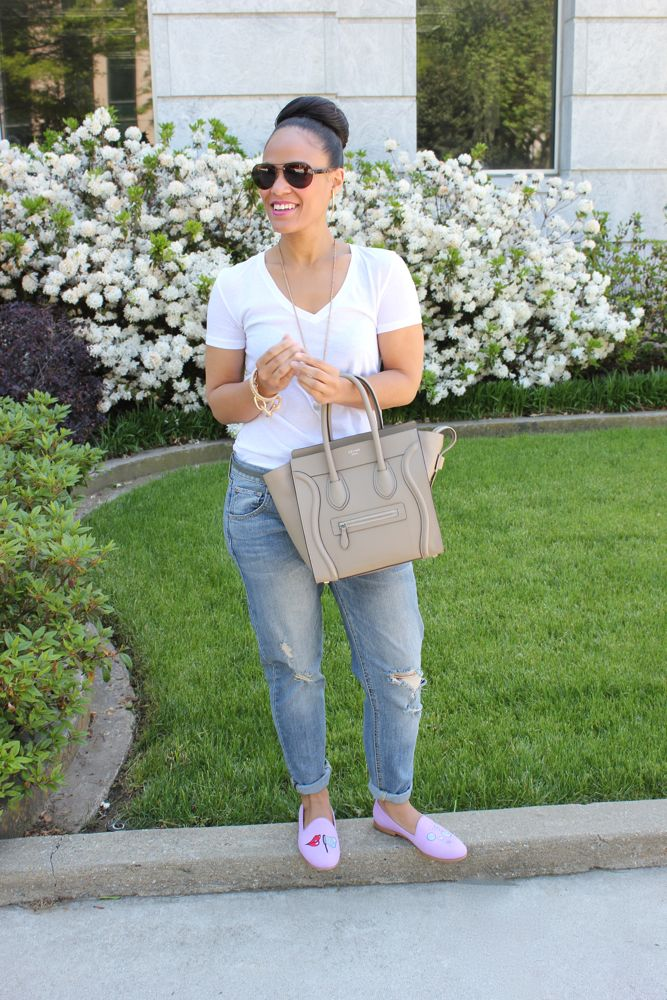 White Tee with Boyfriend Jeans 5