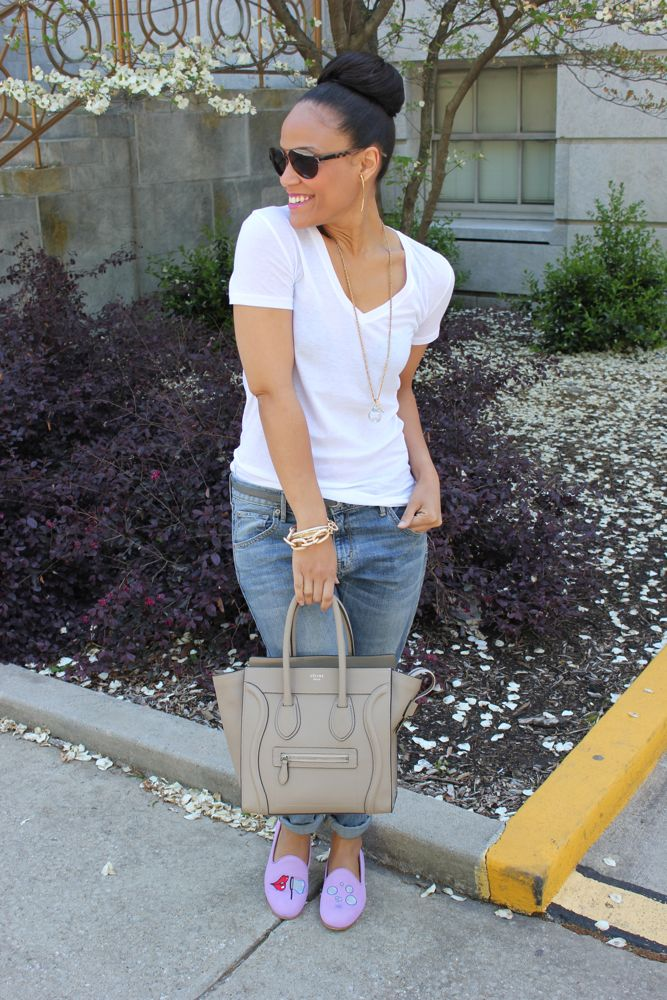 White Tee with Boyfriend Jeans 1