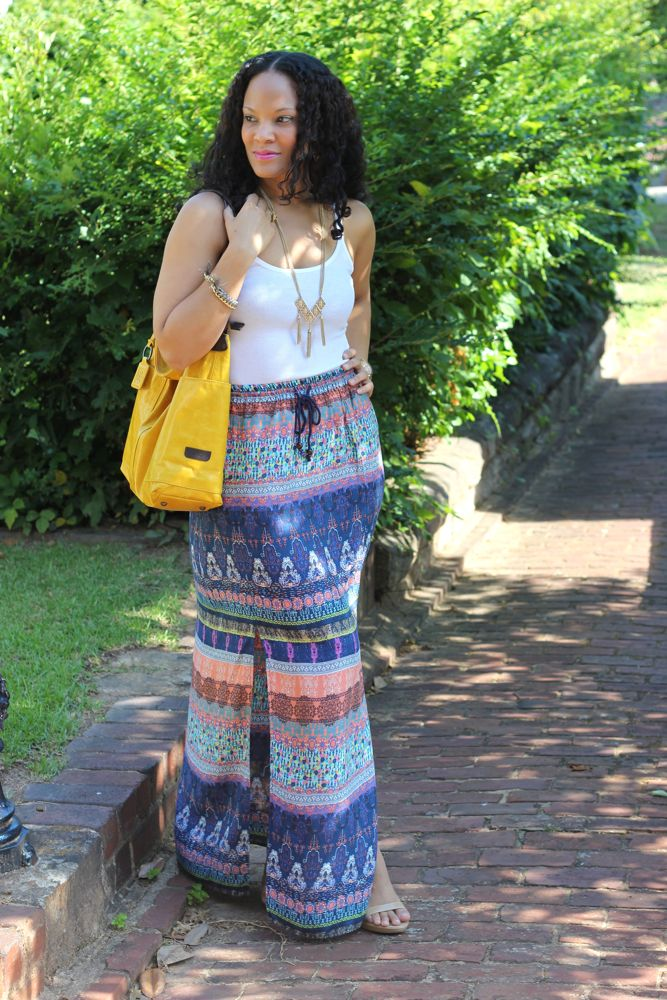 Modern gypsy in a printed maxi skirt stushigal style