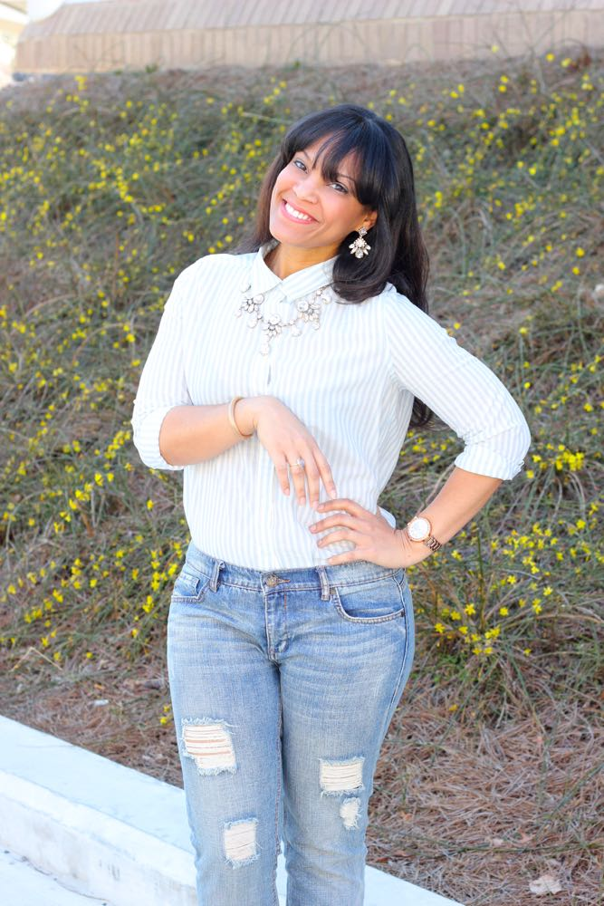 Lightweight Button Down Shirt + Necklaces from Emmajoy