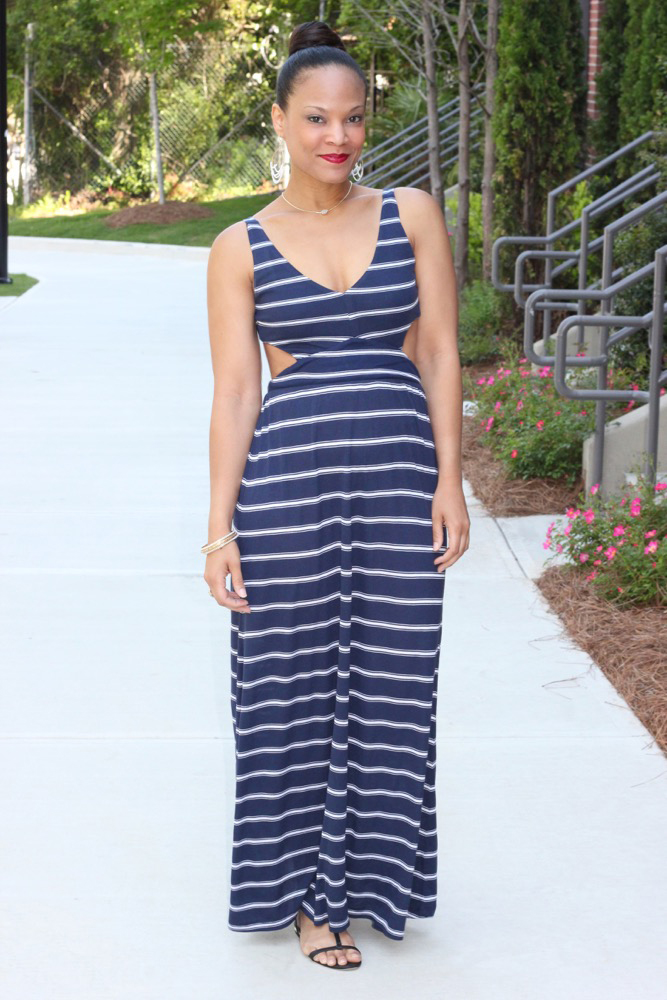 Nautical Striped Maxi Dress 1