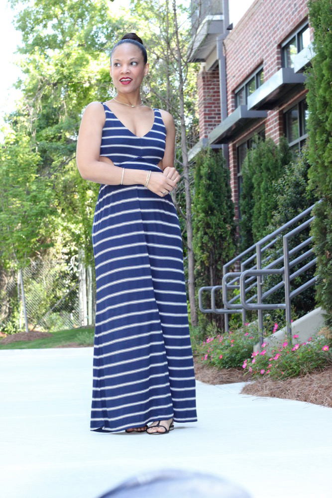 Nautical Striped Maxi Dress 4
