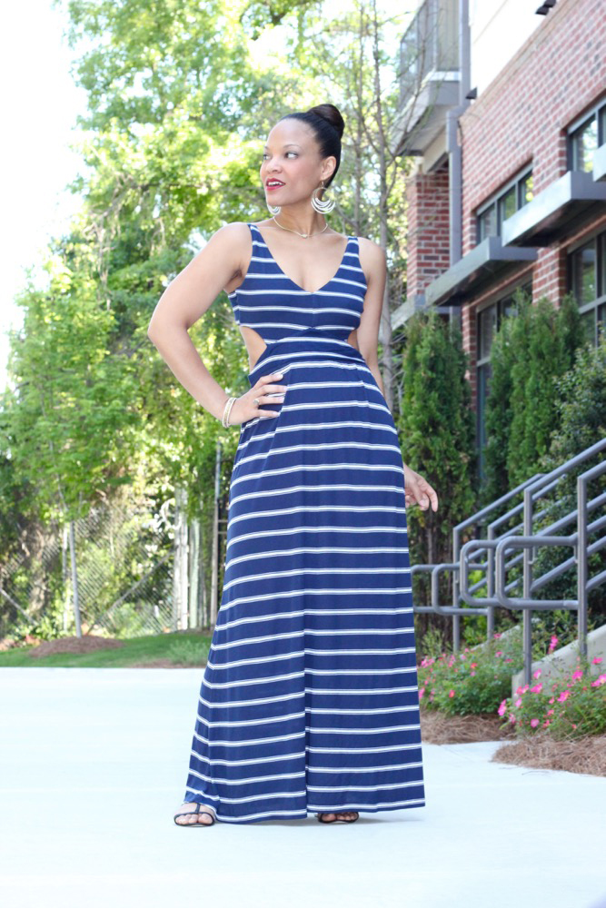 Nautical Striped Maxi Dress for Summer