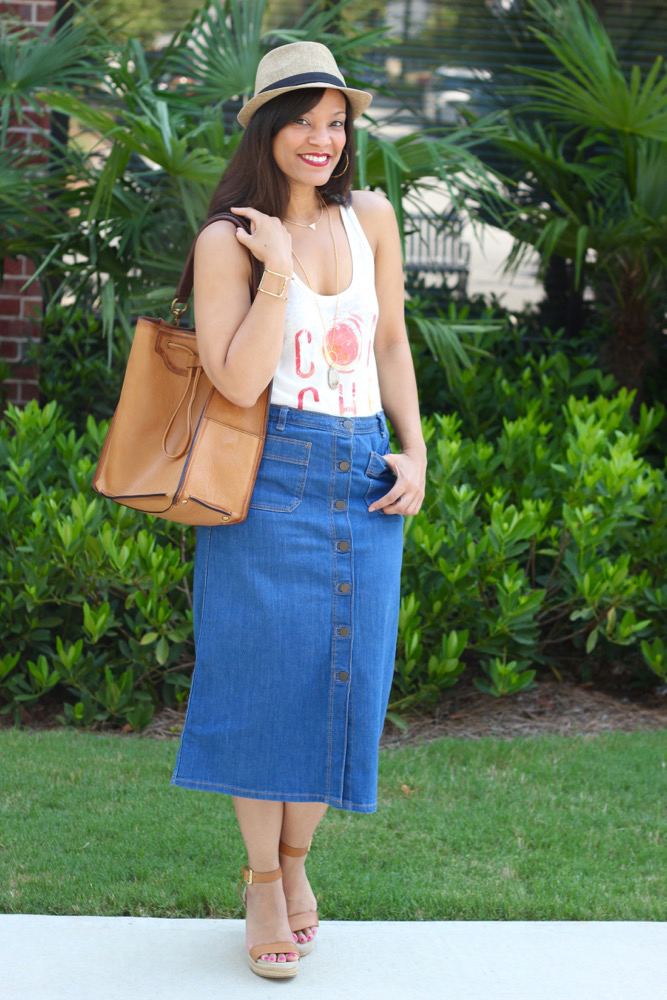 Denim Midi Skirts 1