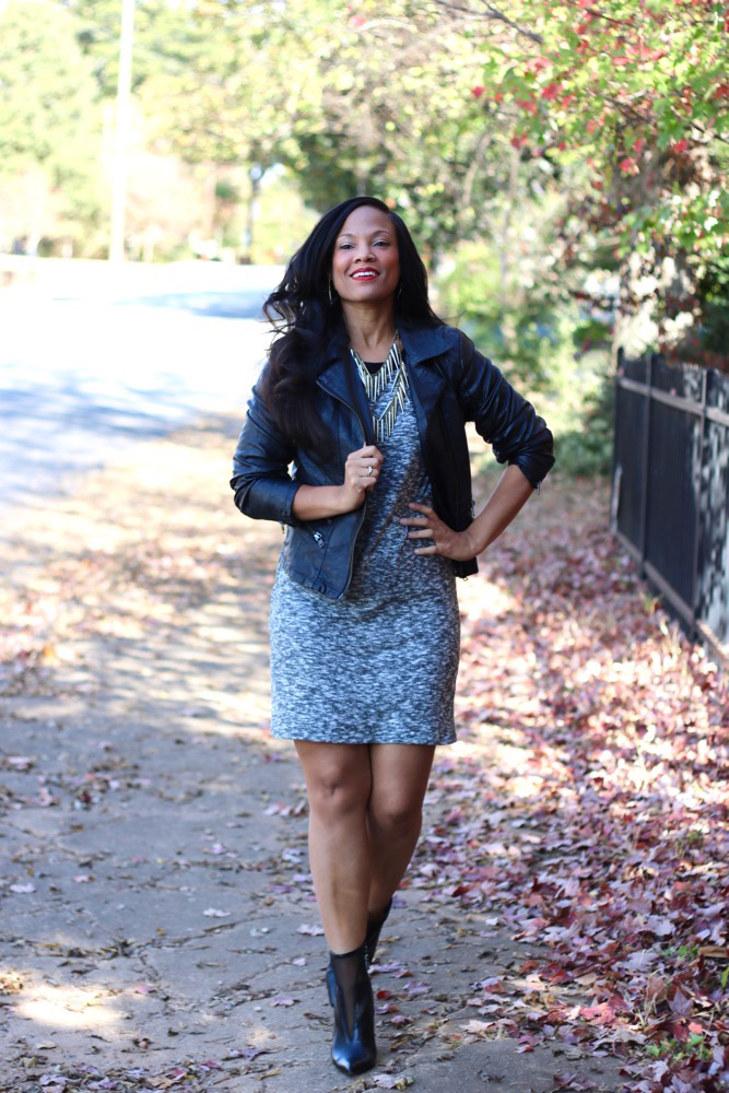 Style a Moto Jacket with a Dress