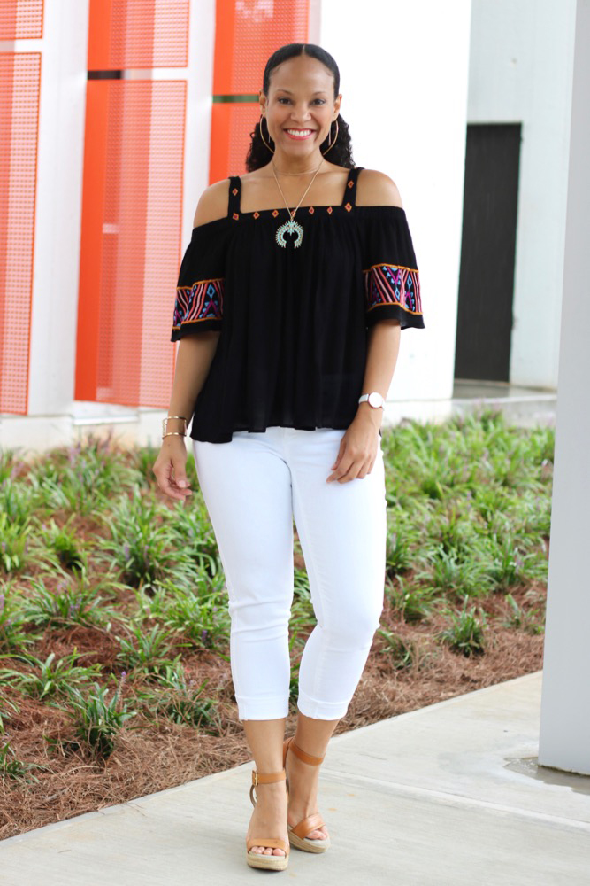 Embroidered Cold Shoulder Tops